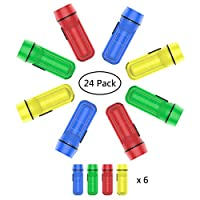 YoungRich 24 Pack Torch Key-ring Keychain Flashlight Pocket Size Portable Battery Powered Flashlight Chain Multiple Using for Kids Adults Party Favor Goody Bag Gift Outdoor Green Yellow Red Blue