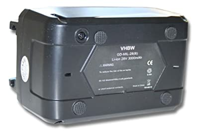 VARIATION vhbw Akku 3000mAh (28V) für Werkzeug AEG Milwaukee C 12-28 DCR, M28, M28B, M28BX, MC28 V, M28 B etc. wie 4932352732, 4933416345.