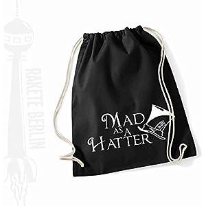 Turnbeutel Rucksack Baumwolle ' Mad as a hatter '