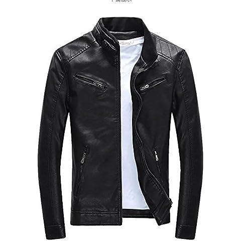 BiSHE Mens PU leather Jackets Slim Smart Fit Fleece harrington