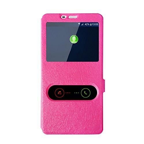 Gionee Marathon M5 Hülle, CaseFirst Leder Handyhülle Stoßfest Schutzhülle Brieftasche Hülle Magnet Cover Geldbörse Hülle Anti-kratzer PU Leather Wallet Case mit Supporter (Pink)