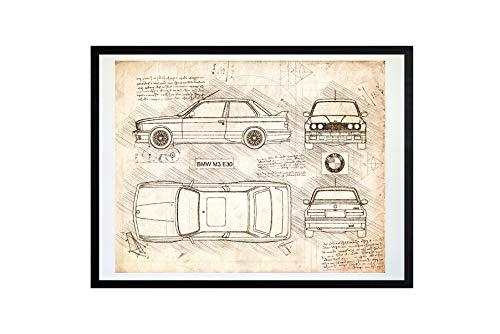 DolanPaperCo #380 Kunstdruck für BMW M3 E30 (1986-92) da Vinci Sketch, ungerahmt, Verschiedene Größen/Farben Antik 16x20 Vintage