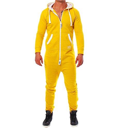 93E45 Finchman Herren Jumpsuit Jogging Anzug Trainingsanzug Overall Gelb S