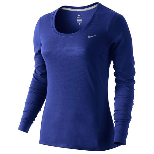Nike Damen Dri-Fit Contour Langarm Shirt, Deep Royal Blue, L - Dri-fit-langarm-shirt