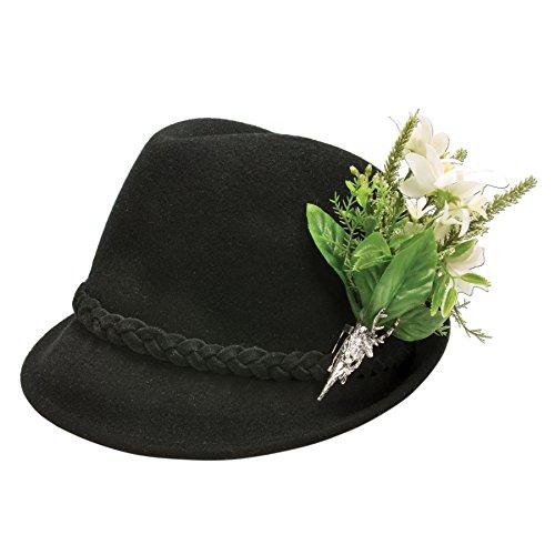 Alpenflüstern Damen Trachtenhut Filzhut Edelweiß-Blüten ADV09100M00 schwarz