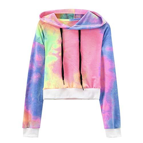 YWLINK Mode Damen Lange ÄRmel Rauch Drucken Kapuzenpullover Pullover Tops Tumblr Bluse(XL,E)