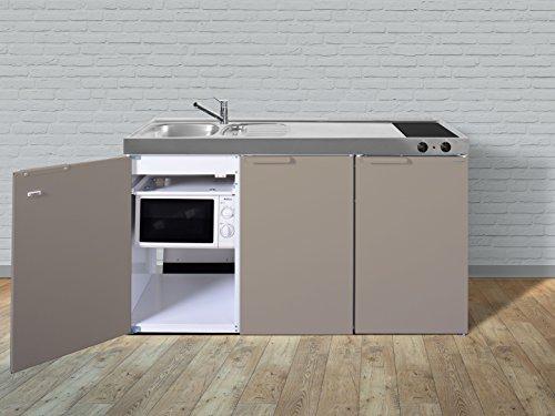 Stengel Miniküche Metallküche Singleküche Küche 150cm Beige Becken Rechts  Ceran