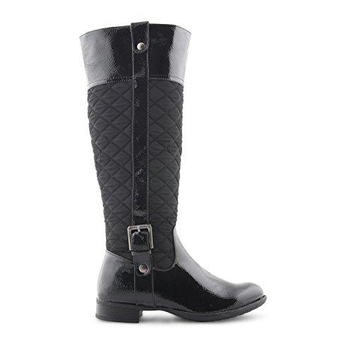 Damen niedrigen Blockabsatz, gesteppt, seitlicher RV bis knielanges Damen Winter-Stiefel mit Schnalle, Damen, Schuhe Schwarz (glänzend)