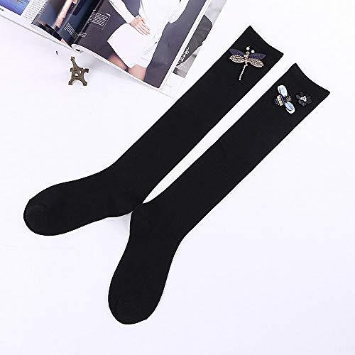 YAOSHIBIAN-Socks Baumwolle japanische Mädchen Socken und Kniestrümpfe Frühling und Herbst handgemachte Perle Diamant Schmuck Socken Lässig Bequem (Farbe : S042-1 Diamond Dragonfly) - Diamant-spitze-socken