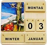 Dauerkalender »Vier Jahreszeiten« Immerwährender Kalender aus Holz (35 × 35 cm) mit aquarellähnlichen Motiven (deutsche Ausführung)