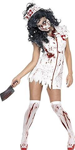 Smiffy's 34132XS Zombie-Krankenschwesterkostüm, XS, weiß (Mad Krankenschwester Halloween Kostüm)