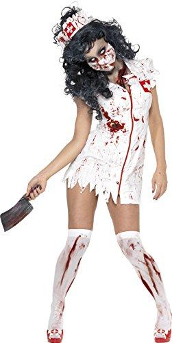 Smiffy's 34132M Zombie-Krankenschwesterkostüm, M, weiß