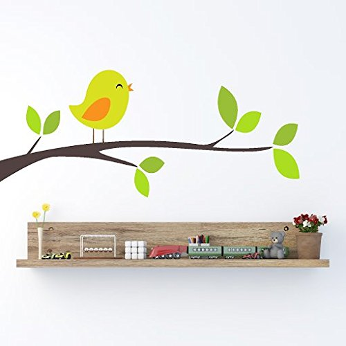 DeStudio Birds On Different Branches, Multi Color, Wall Stickers (Wall Covering Area : 90cm X 40cm)-11290