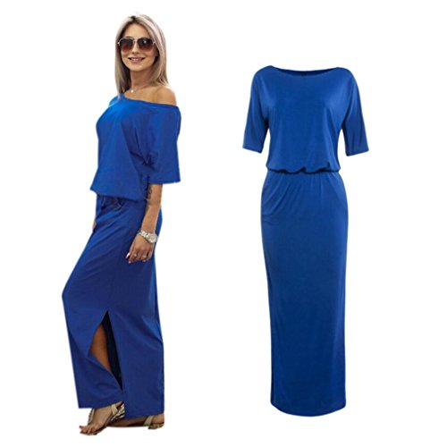 Damen Kleid,Binggong Frauen Sommer Lange Maxi Boho Abendgesellschaft Off Shoulder Lange Abendkleid Party Kleid Tasche Kurzärmlige Seite Offene Kleid Taschen Geteilter (Sexy Blau, ()
