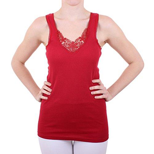 2er Pack Damenhemd mit Spitze Nr. 355 Feinripp - Sehr gute Qualität ( Rot/Schwarz / 56/58 ) - 4