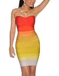 HLBandage Women's Rayon Strapless Stretch Party Bandage Dress