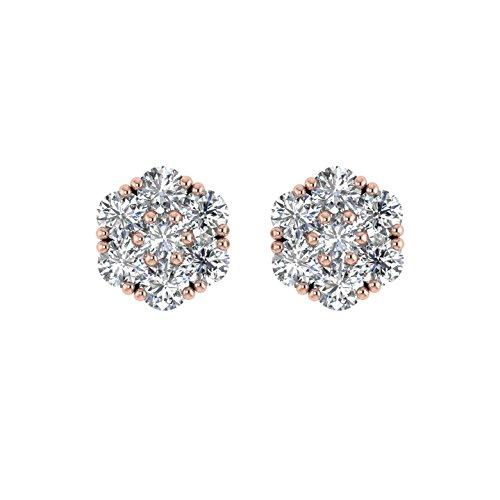 Delight femmes de diamant 14K Boucles d'oreille Clous en forme de fleur (I1-I2, 1/2carat)