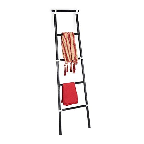 Relaxdays 10021507_46 scala portasciugamani bagno, legno, stile rustico, porta asciugamani, hxlxp: 150 x 50 x 3 cm, nero