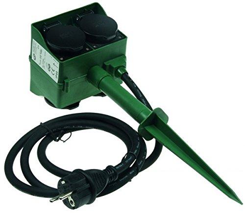 Gartensteckdose mit Erdspieß, 4-fach, IP44, 1,4m Kabel