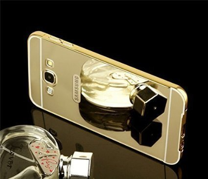 Badhiyadeal Luxury Metal Bumper Acrylic Mirror Back Cover Case For Samsung J7 (2016) - Gold