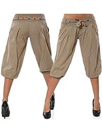 BIRAN-55 Hosen Damen 3 4 Hose Sommer Mit Taschen Mit Gürtel Button  Unifarben Schöne Hipster Plissee Bequeme Atmungsaktiv Kurz Pants… 9276d9a0ed