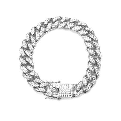 Imagen de parkomm pulsera cubana para hombre pulsera de hip hop pulsera de acero inoxidable con diamantes de imitación