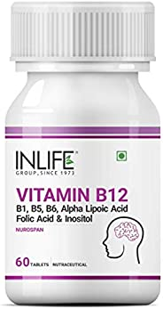 INLIFE Vitamin B12 1500 mcg with B1, B5, B6, Alpha Lipoic Acid ALA, Folic Acid, Inositol Supplements - 60 Tabl