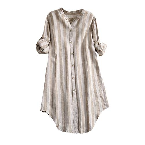 IYHENZ Damen Hemd Knopf Oberteile Pullover Baumwolle Gestreiftes Langarmshirt Top Übergröße Tunika Bluse Oversize Cardigan Top Hemdkleid...