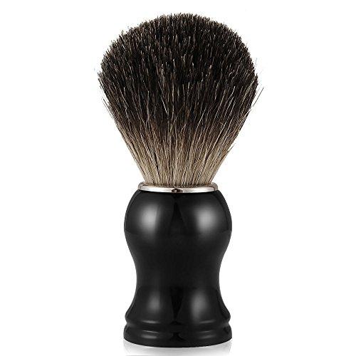 Mture Dachshaar Rasierpinsel,Badger Shaving Brush Dachshaar Männer Rasierpinsel,100% Dachshaar,Ebenholzimitatgriff, für die Perfekte Rasur,Rasierschaum-Pinsel/Rasurzubehör (Schwarz)