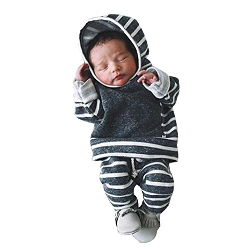 2Pcs Neugeborene Kleidung Set Btruely Baby Junge Mädchen Kleider Set Lange Hülse Kapuzenpullover Gestreift Tops Hose Warm Outfits (Grau, 70)