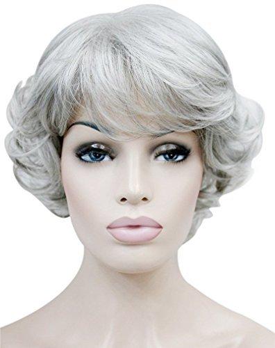 Kalyss Kurze Graue Locken Lockige Synthetic Perücke Grey Curly Kinky Hair Wig Für Frauen