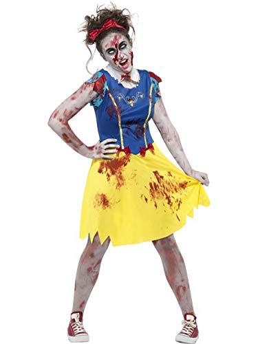 Miss Zombie Kostüm - Halloweenia - Damen Frauen Kostüm Zombie Horror Märchenfigur mit Kleid Kragen und Harrteil, Zombie Miss Snow Fairytale, perfekt für Halloween Karneval und Fasching, XS, Blau