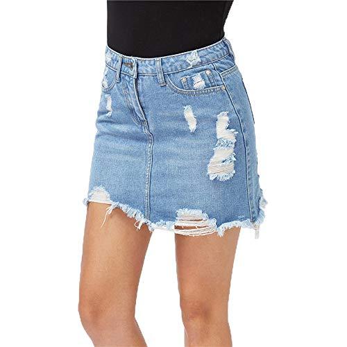 Keven Damen Denim Rock Hoch Lose A-Linie Kurz Skirt Einfarbig Taillierte Jeansrock (M, Blau) (XXL, Blau) -ausschnitt A-linie Kurz