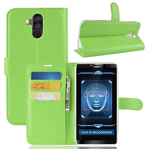 Gift_Source Oukitel K6 Hülle, [Grün ] PU Leder Hülle Handy Schutzhülle Brieftasche Handyhülle Faltbare Tasche Handyhülle mit Kartensteckplätze & Standfunktion Flip Case Cover für Oukitel K6 (6.0
