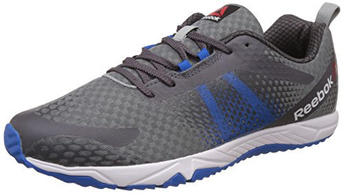 Reebok Men's Blaze Run Flat Grey, Ash Grey, Blue and White Running Shoes - 8 UK/India (42 EU)(9 US)