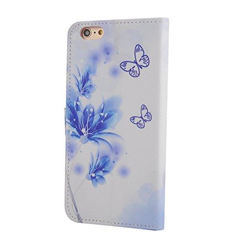Pour Apple iPhone 6 plus (5.5 Pouces) Coque ZeWoo® Étui en Similicuir Strass Housse Protecteur - XX025 / Des Papillons Bleus XX025 / Des Papillons Bleus