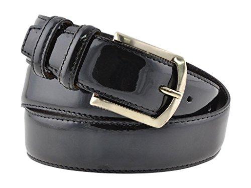 Cintura uomo in pelle vitello spazzolato, vernice nero, artigianale, made in italy, 3,5 cm. (110 cm (42/44 - 44/46 EU))