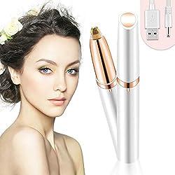 Bamoer Eléctrica Depiladora Cejas,Ceja Recortador,Eyebrows Trimmer Mujer Depiladora Facial Para,Depilacion de Cejas Carga USB (Blanco)