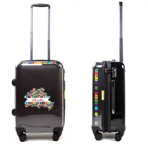 """HAUPTSTADTKOFFER® · Hartschalenkoffer Koffer Trolley Reisekoffer Hartschale · Serie """"Style"""" (Eule Strand Sonnenschirm) World Polaroid Rot"""