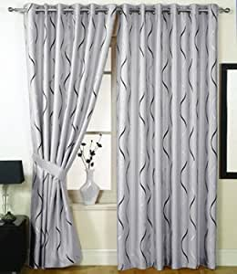 Silver Black Eyelet Curtains Lined Waves 66x72 Kitchen Home