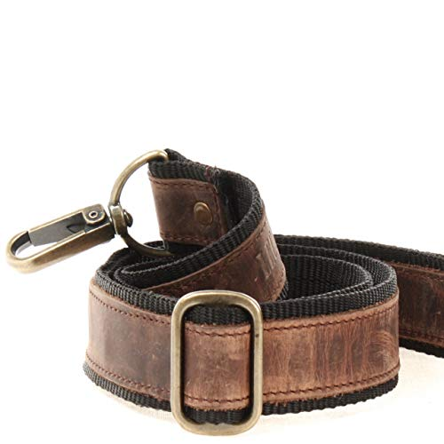 LECONI Trageriemen Leder Nylon Schulterriemen breiter Schultergurt für Taschen Umhängegurt längenverstellbar 4x150cm schlamm LEC-R2 -