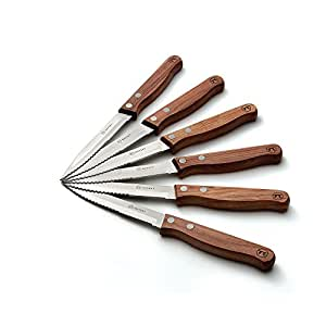 Outset QB90 Rosewood Steakmesser, 6 Stück, für Garten, Rasen, Instandhaltung