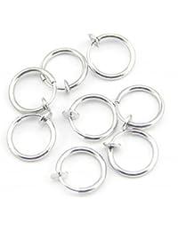 Baqi 8Clip On Fake Piercings Ringe Hals-, Nasen-Lippen Ohrringe Körperschmuck Stahl 8 Clip On Fake-Piercing Nose Lip Hoop Ringe Ohrringe