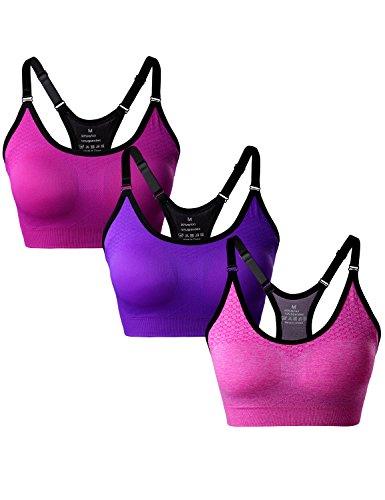 Match Soutien-gorge sans Rembourrage Racerback sans Couture pour Femme pour Yoga Gym Fitness #003 1 Lot de 3(Rose-Prune-Violet)