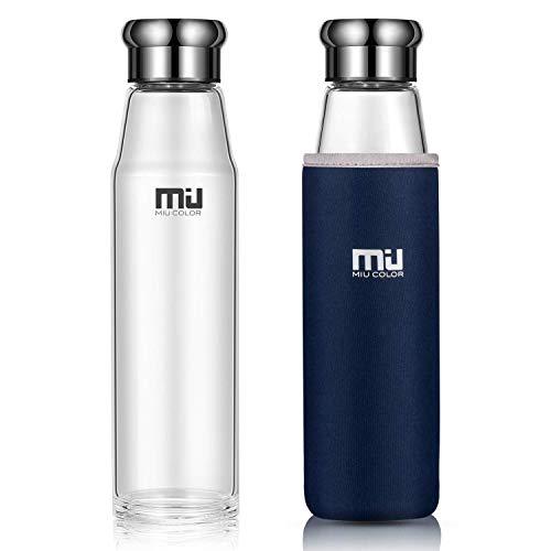 Miu Miu Tasche (MIU COLOR® Stilvolle Tragbare 700ml Glasflasche Größere Kapazität Trinkflasche mit Nylon-Tasche für Auto (ohne Teesieb, blau))