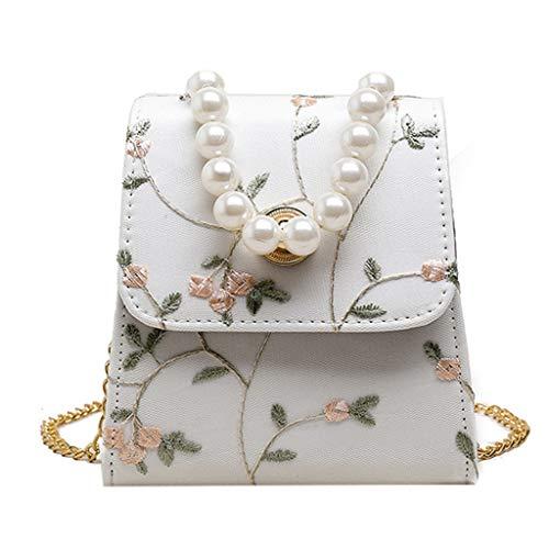 Dhyuen Frauen Mädchen Mode Blume Perlen Handtasche Tote Schulter Crossbody Taschen -