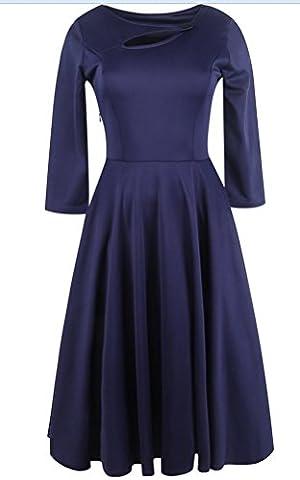 SunIfSnow - Robe spécial grossesse - Moulante - Uni - Manches 3/4 - Femme - bleu - XX-Large
