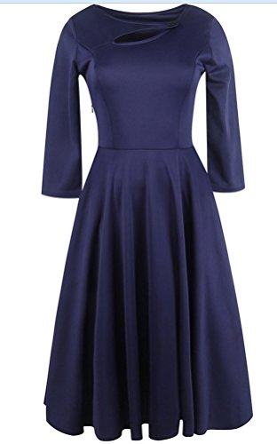 sunifsnow-abito-fasciante-basic-maniche-a-3-4-donna-dark-blue-large