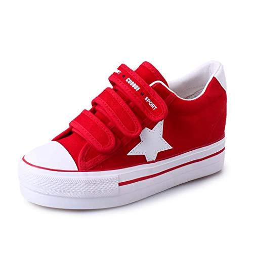 MISS&YG Frauen lässige atmungsaktive Sportschuhe Stretch Socken Schuhe niedrig, um die Schuhe zu erhöhen,Red,35