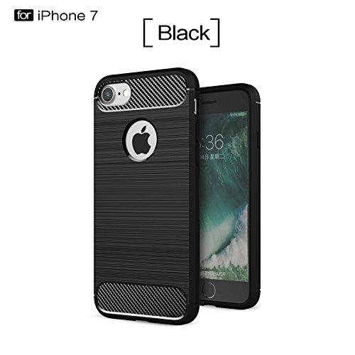 YHUISEN IPhone 7 Plus Case, Ultra Light Carbon Fiber Rüstung ShockProof gebürstet Silikon Griff Case für IPhone 7 Plus ( Color : Red ) Black